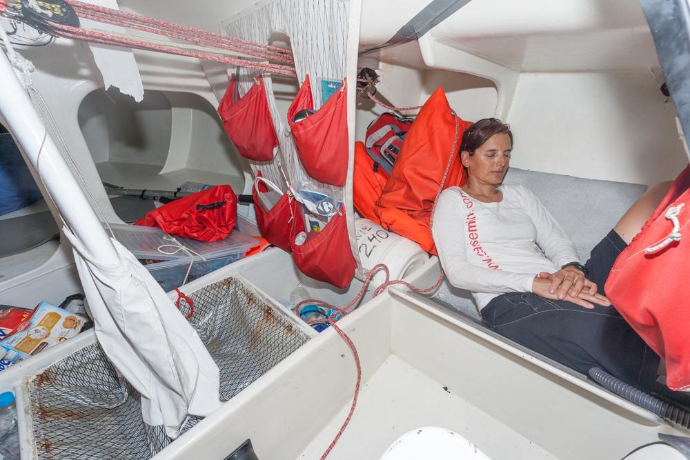 Pilar Pasanau descansando a bordo