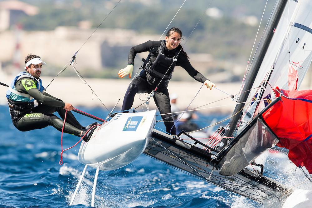 Vela Olímpica: Catamarán Nacra 17, la nueva clase mixta se estrena en las olimpiadas de Rio de Janeiro. Foto: Pedro Martínez/Sailing Energy/Trofeo Sofia.